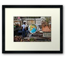 After leaving his earth sculpture in the garden overnight, Wes finds undisputed evidence of global worming. Framed Print