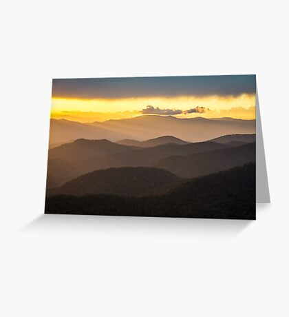 Blue Ridge Parkway Sunset - Appalachian Gold Greeting Card