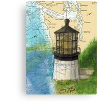 Cape Meares OR Lighthouse Nautical Map Cathy Peek Canvas Print