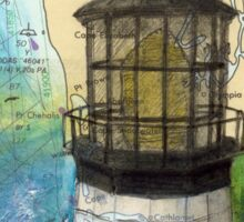 Cape Meares OR Lighthouse Nautical Map Cathy Peek Sticker