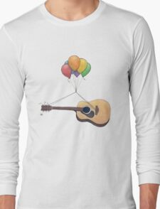 Guitar Getting Carried Away by Balloons Long Sleeve T-Shirt