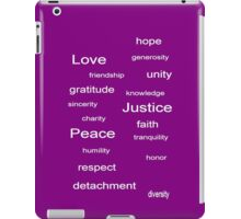 Love Peace Justice - Purple iPad Case/Skin