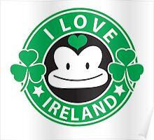 I LOVE IRELAND funny monkey with shamrocks Poster