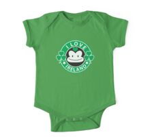 I LOVE IRELAND funny monkey with shamrocks One Piece - Short Sleeve