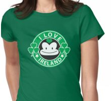 I LOVE IRELAND funny monkey with shamrocks Womens Fitted T-Shirt