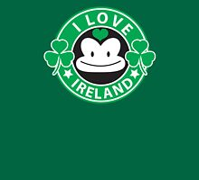 I LOVE IRELAND funny monkey with shamrocks Womens Fitted T-Shirt