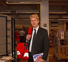 Jo Johnson MP with post bag at Orpington Sorting Office by Keith Larby