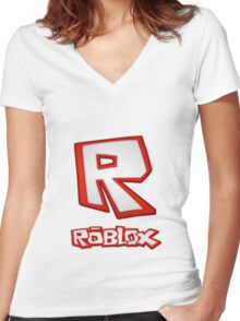 Roblox R Logo Women's Fitted V-Neck T-Shirt