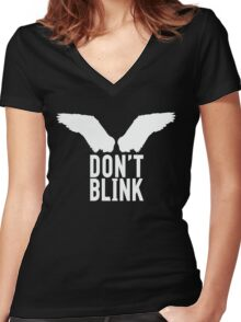 Don't Blink (white) Women's Fitted V-Neck T-Shirt