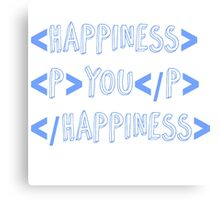 code happiness blue Canvas Print
