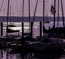 Purple sunrise Connecticut sailboat masts in silhouette by Mariannne Campolongo