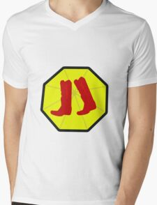 Red Boots and Yellow Umbrella Mens V-Neck T-Shirt