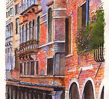 Curved Canal Venice by Dai Wynn