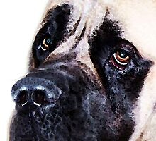 Mastiff Dog Art - Sad Eyes by Sharon Cummings
