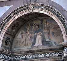 Detail over Door S Maria Novello Florence Italy 198407090005  by Fred Mitchell