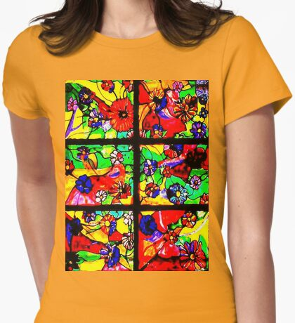 """""""Window of Flowers""""  Womens Fitted T-Shirt"""
