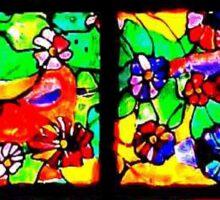 """""""Window of Flowers""""  Sticker"""