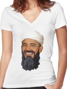 B'Lack Osama photoshop transparent tee Women's Fitted V-Neck T-Shirt