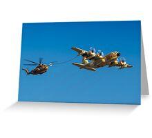 Hercules C-130 transport plane refuelling Greeting Card