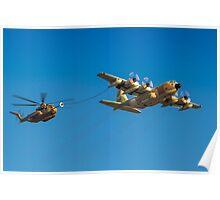Hercules C-130 transport plane refuelling Poster