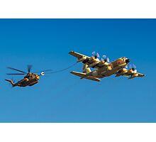 Hercules C-130 transport plane refuelling Photographic Print