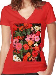 """Flowers 1""  Women's Fitted V-Neck T-Shirt"