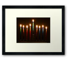 Hanukkah Lights Last Night Framed Print