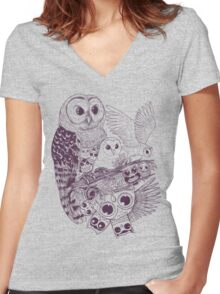 Owl Movement Women's Fitted V-Neck T-Shirt