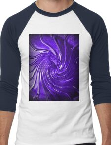 """Purple Swirl Martini Glass"" Men's Baseball ¾ T-Shirt"