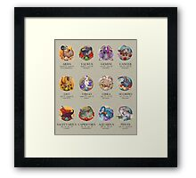 Dinosaur Astrology Chart Framed Print