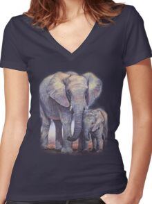 Elephants: Baby Bumper Women's Fitted V-Neck T-Shirt