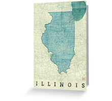 Illinois Map Blue Vintage Greeting Card