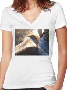 Flow Form Fountain, Rudolf Steiner College Women's Fitted V-Neck T-Shirt