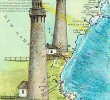 Cape Ann Lighthouse MA Nautical Chart Cathy Peek by Cathy Peek