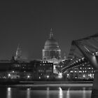 London's St Paul's and Millennium bridge at night by Andre Rickerby