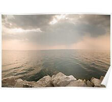 Pink sunset over Trieste Bay Poster