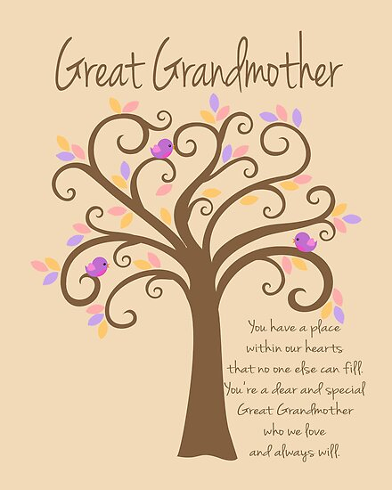 Great grandmother grandchildren tree print quot by doherty design