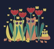 Rabble Of Butterflies In Tulip Garden One Piece - Short Sleeve