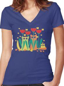 Rabble Of Butterflies In Tulip Garden Women's Fitted V-Neck T-Shirt
