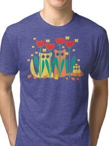 Rabble Of Butterflies In Tulip Garden Tri-blend T-Shirt