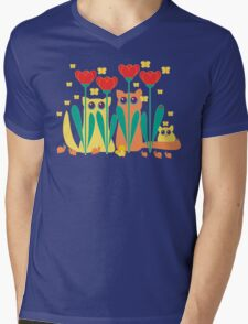 Rabble Of Butterflies In Tulip Garden Mens V-Neck T-Shirt