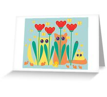 Rabble Of Butterflies In Tulip Garden Greeting Card