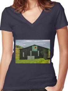 Kentucky Barn Quilt - Flower of Friendship Women's Fitted V-Neck T-Shirt