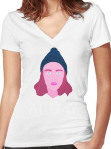 Allday Women's Fitted V-Neck T-Shirt
