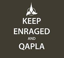 KEEP ENRAGED and QAPLA (white) Unisex T-Shirt