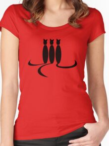 Face Drawn With Cat Tails Women's Fitted Scoop T-Shirt