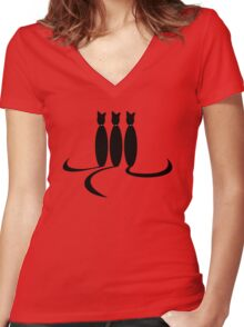 Face Drawn With Cat Tails Women's Fitted V-Neck T-Shirt