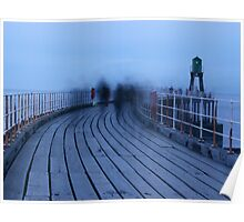 Ghostly Figures - Whitby Pier Poster
