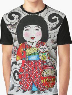 Ichimatsu ningyo, maneki neko and daruma doll  Graphic T-Shirt