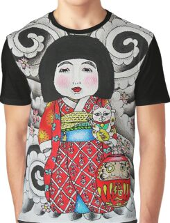 Ichimatsu ningyo, maneki neko and daruma doll  Graphic T-Shirt